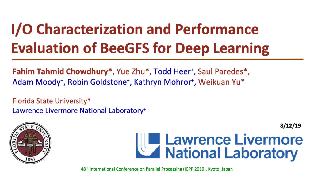 I/O Characterization and Performance Evaluation of BeeGFS for Deep Learning by Florida state university